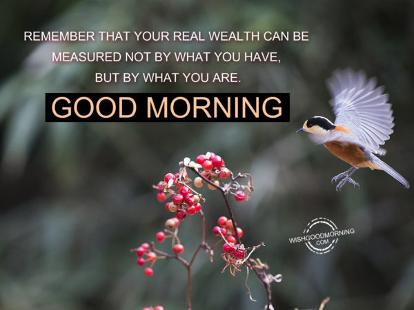 Remember That Your Real Wealth Can Be Measured Not By What You HaveBut By What You Are.